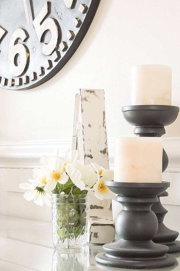 Farmhouse decorating with Dollar Tree flowers