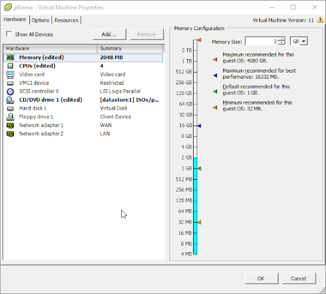 pfSense install on VMWare ESXi as a network firewall/router Part 2  Section 2 – Virtual Machine Setup