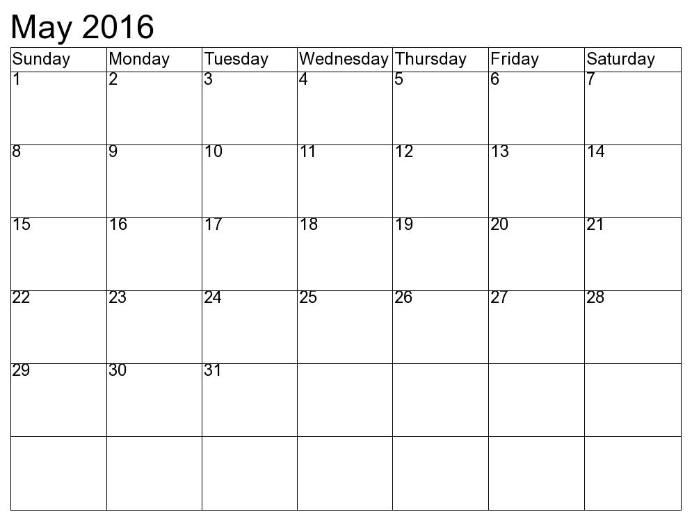 Blank Calendar Template May : May blank printable calendar