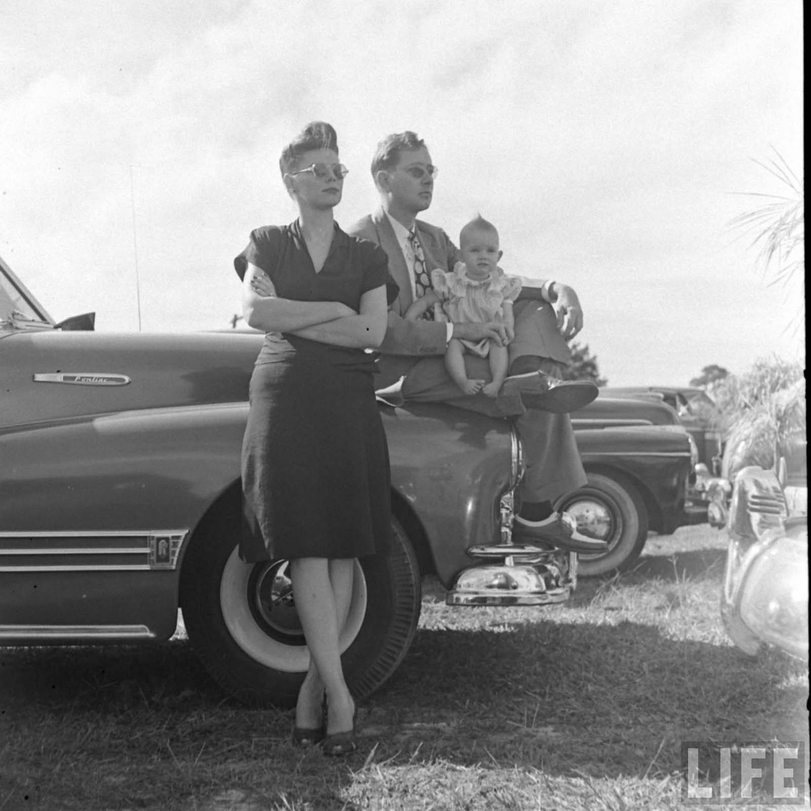 A family in a drive-in church. Florida, 1947.