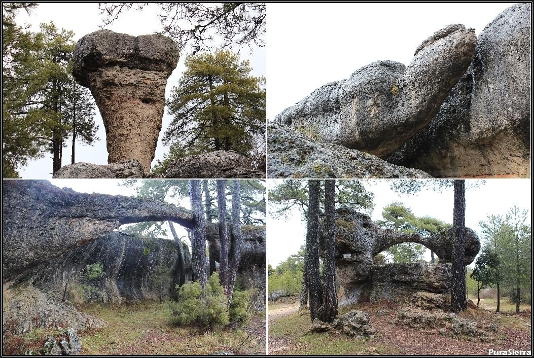 Cuatro vistas de la Ciudad Encantada de Cuenca