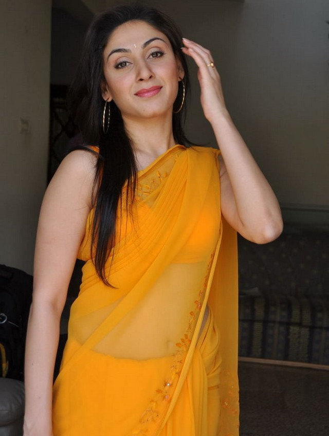 Cute milky manjari phadnis in yellow saree