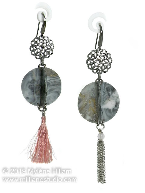 Marbled grey earrings with pink tassel and chain dangles