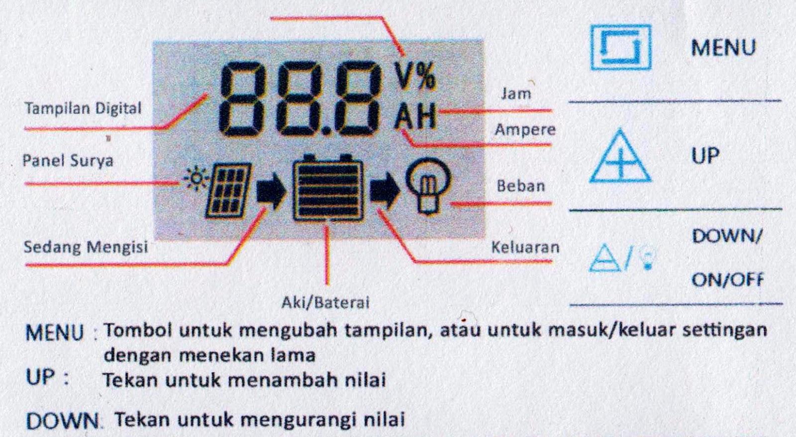 Cara Setting Charger Controller Panel Surya Dengan Indikator Led Dan Scc3 12 Volt 20 Amp Solar Charge Tekan Tahan Tombol Menu Sekitar 3 Detik Kemudian Atau Maka Akan Tampil Seperti Gambar