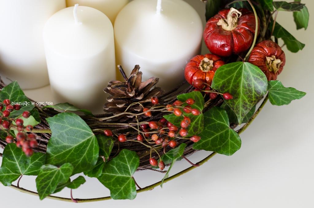 świecznik, dekoracja jesienna