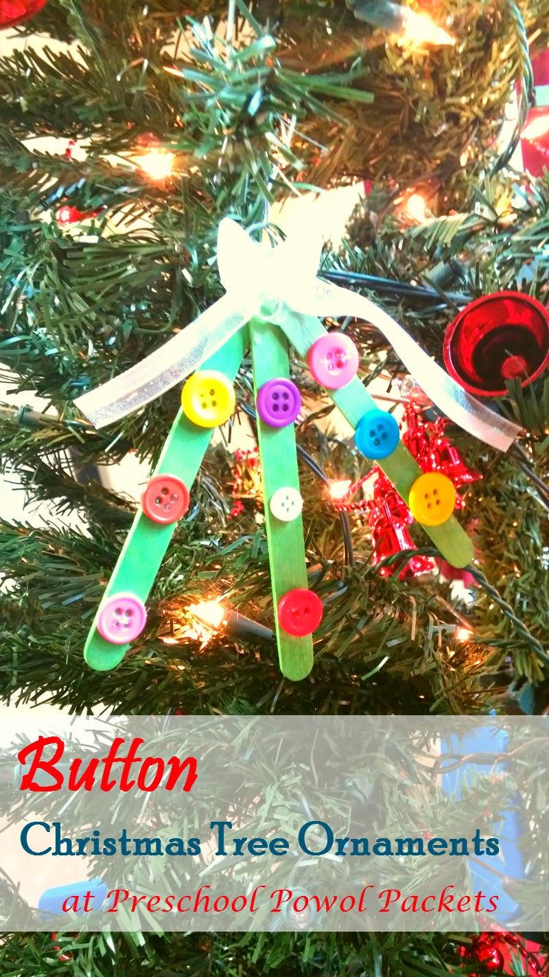 Button Christmas Tree Ornaments!   Preschool Powol Packets