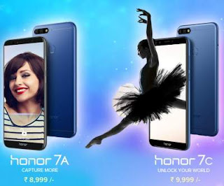 Huawei Launches Honor 7A, Honor 7C With Dual Rear Cameras in India rainingdeal.in