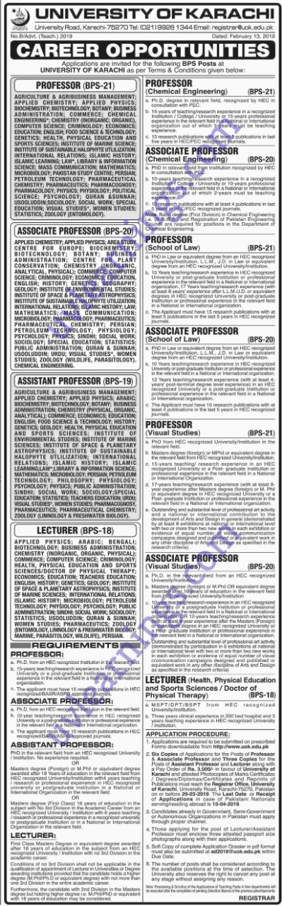 Job in University of Karachi