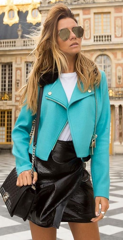 amazing outfit idea: jacket + skirt + top + bag