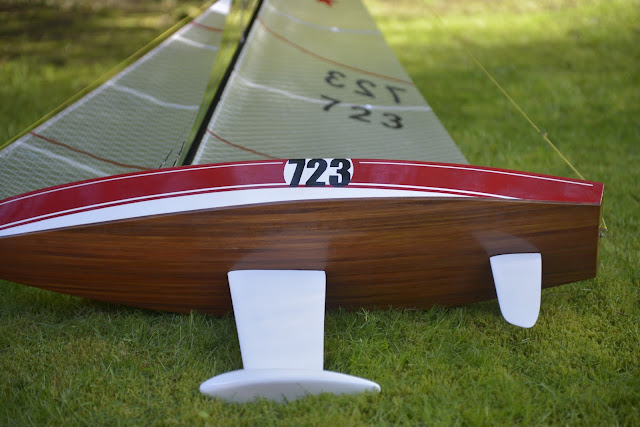 Wooden RC sailboat beautiful wood art boat