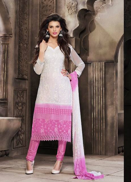 Contemporary Off #White & Orchid Chiffon #SalwarKameez For #Navratri Moksha Fashions