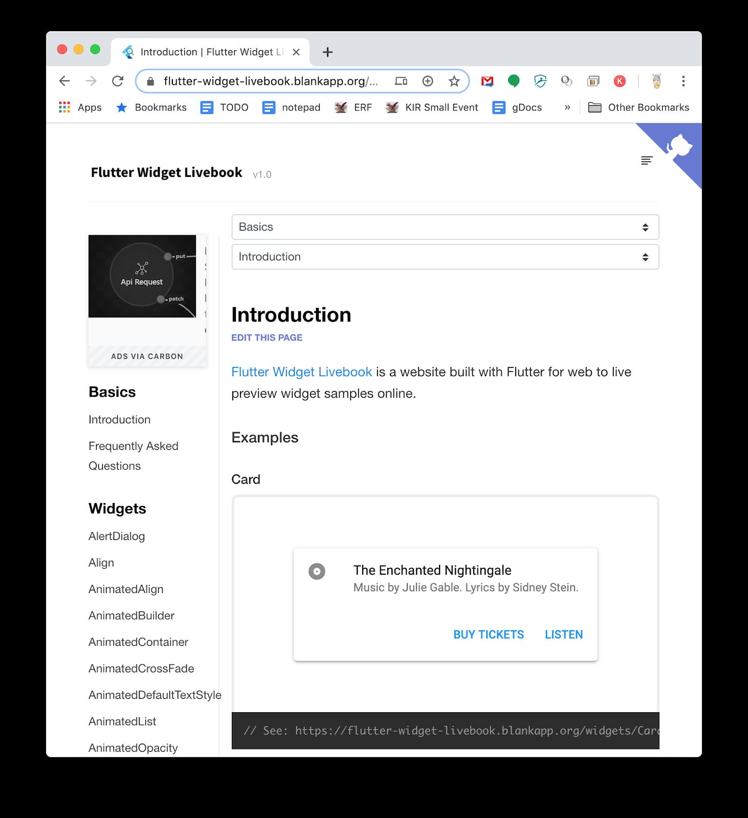 Flutter Widget Livebook