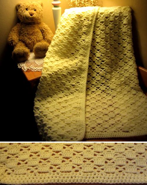 Lacy Chessboard Baby Blanket - Free Pattern