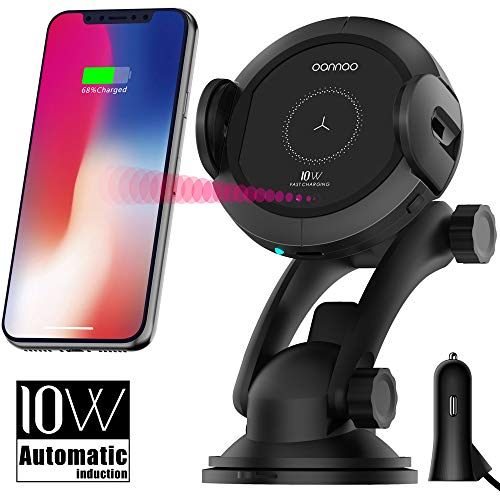 Qi Wireless Car Charger Mount - Car Charger Holder for iPhone x 8/8Plus,10W  Fast chargeing for