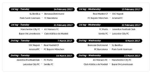 Jadwal Pertandingan Liga Champions Babak 16 Besar