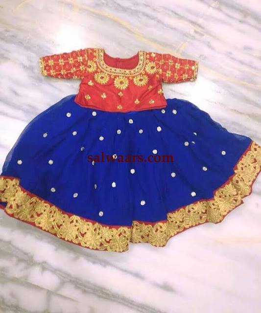 Blue and Red Zardosi Work Lehenga