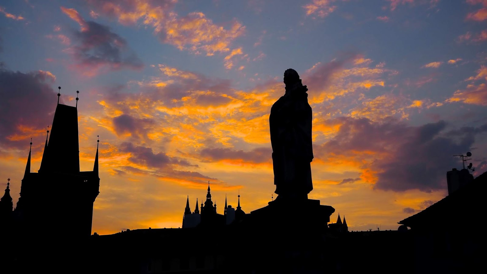 Sunset on Charles Bridge, Prague