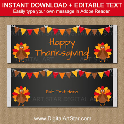 thanksgiving chocolate bar wrappers - chalkboard party favors with editable text