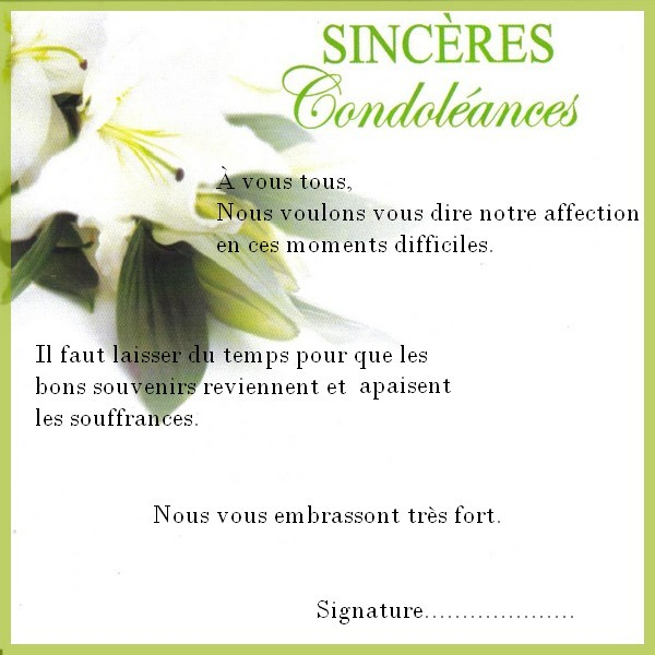 condoleances professionnelles