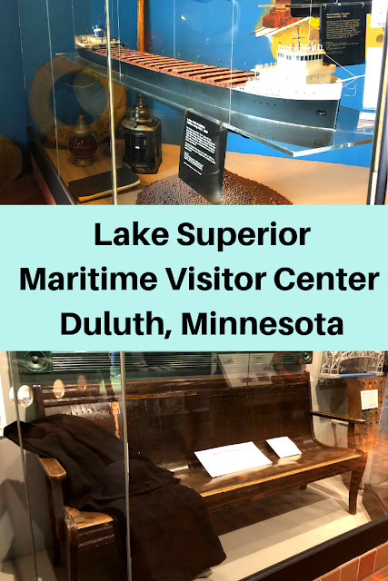 Learning about shipping history and sailing on Lake Superior at Lake Superior Maritime Visitor Center in Duluth, Minnesota