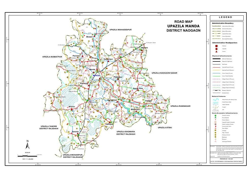 Manda Upazila Road Map Naogaon District Bangladesh