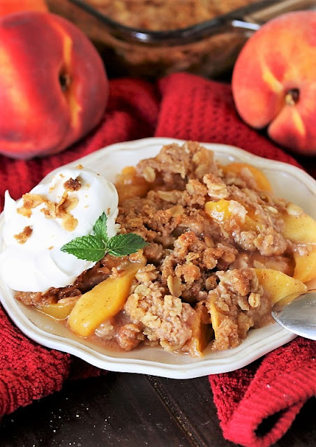 Peach Crisp Dessert Made with Fresh Peaches Image
