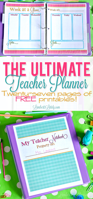 I love this bright and colorful printable teacher planner!  It has so many useful pages, like a grade tracker, weekly/monthly calendars, lesson plans, and small group tracker (all with pretty colorful gingham backgrounds).  The best part is this template is free!