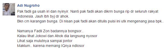 Puisi untuk Fadli Zon dari Netizen