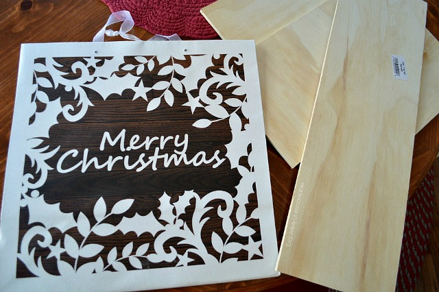 Merry Christmas Gift Bag and wooden planks