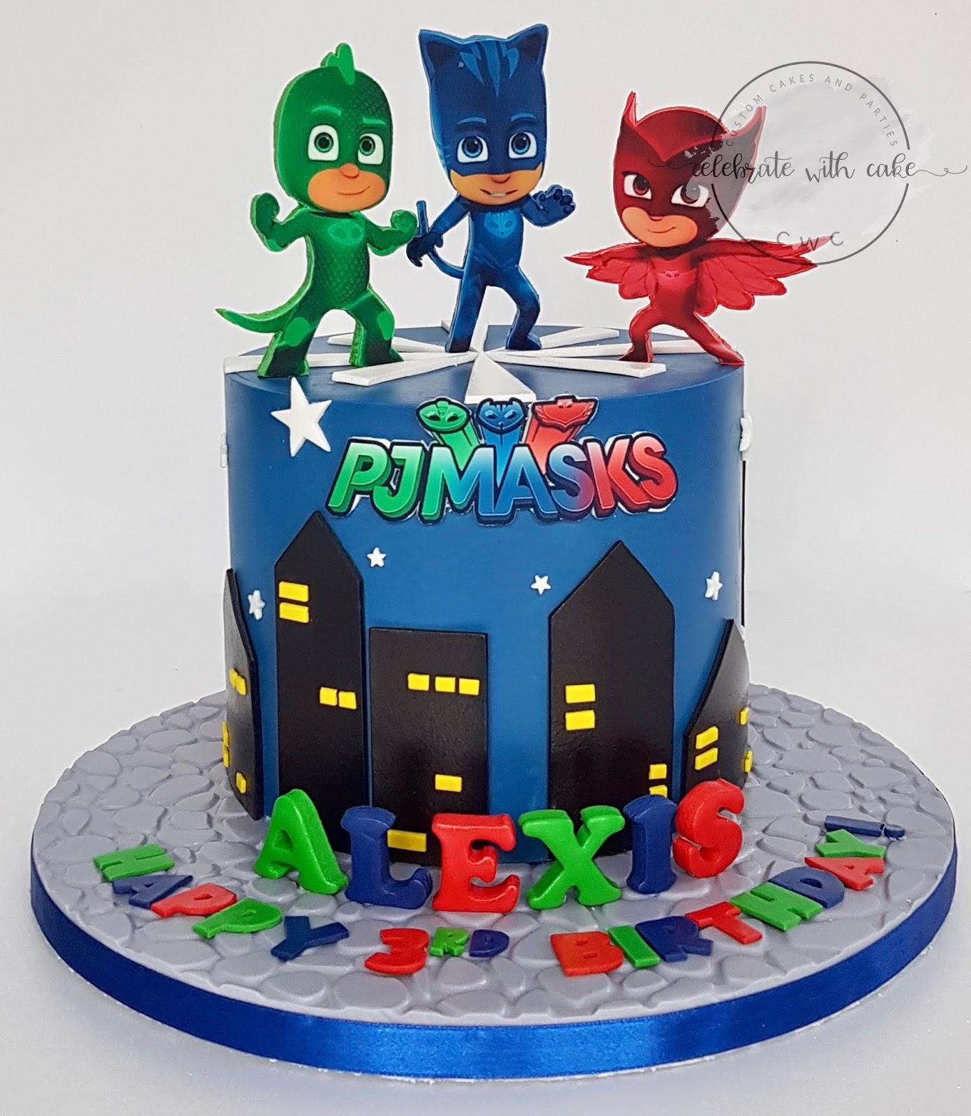 celebrate with cake pj masks single tier cake