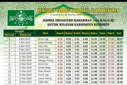 Jadwal Imsak Kebumen 1440 H / 2019