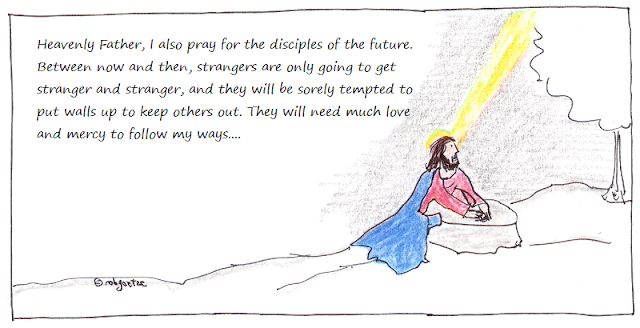 jesus prays for future disciples, cartoon by rob g
