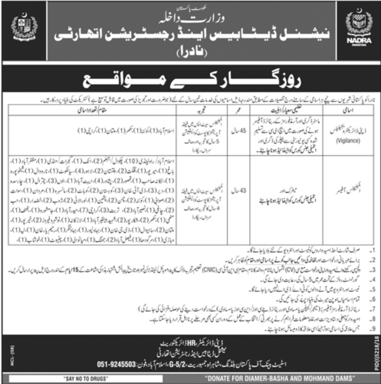 NADRA Jobs 2019 Latest New Vacancies in Pakistan