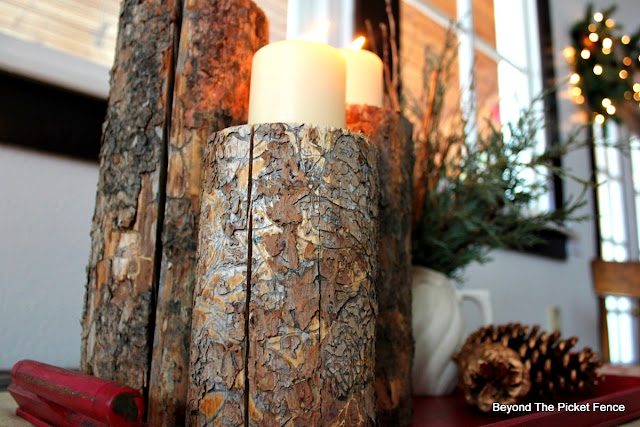 logs, use what you have, DIY, copper paint, candles, Christmas centerpiece, http://bec4-beyondthepicketfence.blogspot.com/2015/12/12-days-of-christmas-day-8-woodland.html