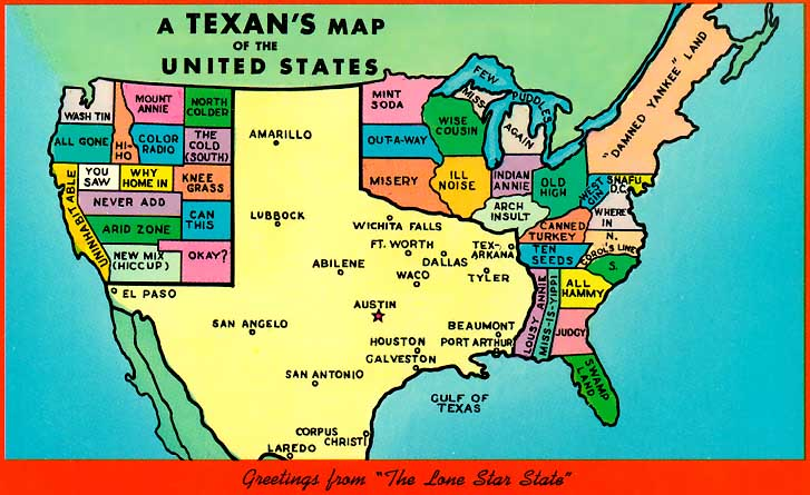 Just point at the city on the map or search it in the search field to see the detailed information. America According To Texas Vivid Maps