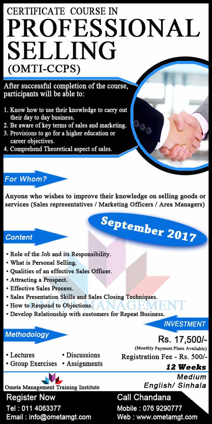Ometa Management | Certificate Course in Professional Selling (OMTI-CCPS)