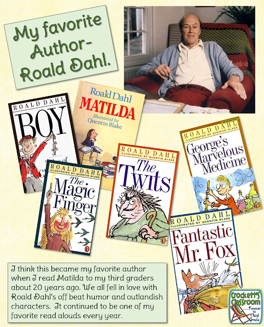 Roald Dahl, these books are perfect for 3rd and 4th grade literature studies.  His books are filled with humor that appeals to kids and adults!