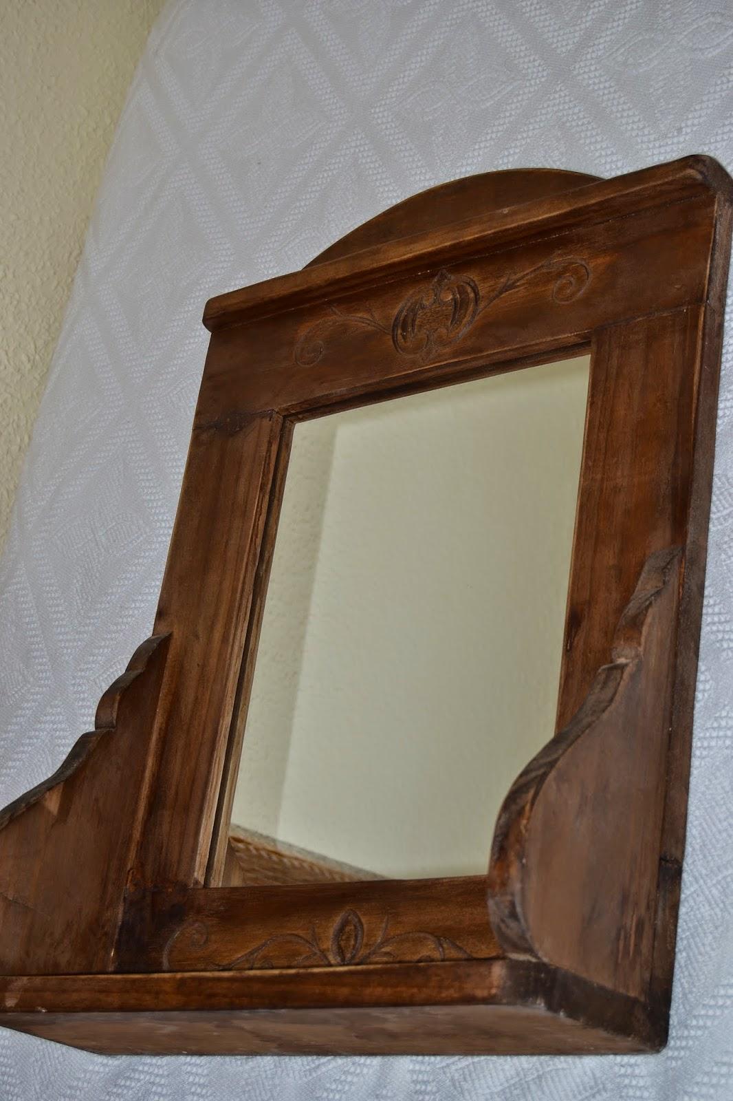 Artesan a r stica en madera marco repisa con espejo for Disenos de marcos de madera para espejos