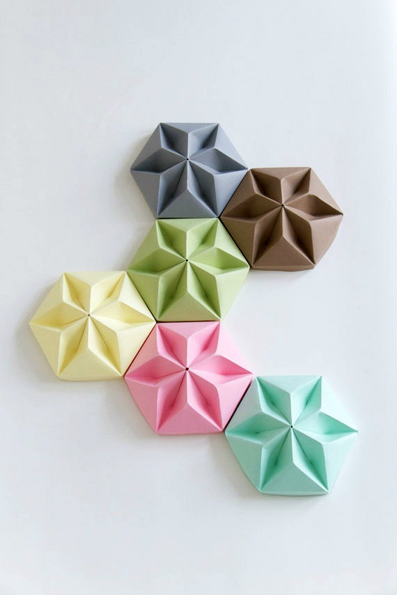 six folded paper ceiling pendant lamp cups in pastel colors