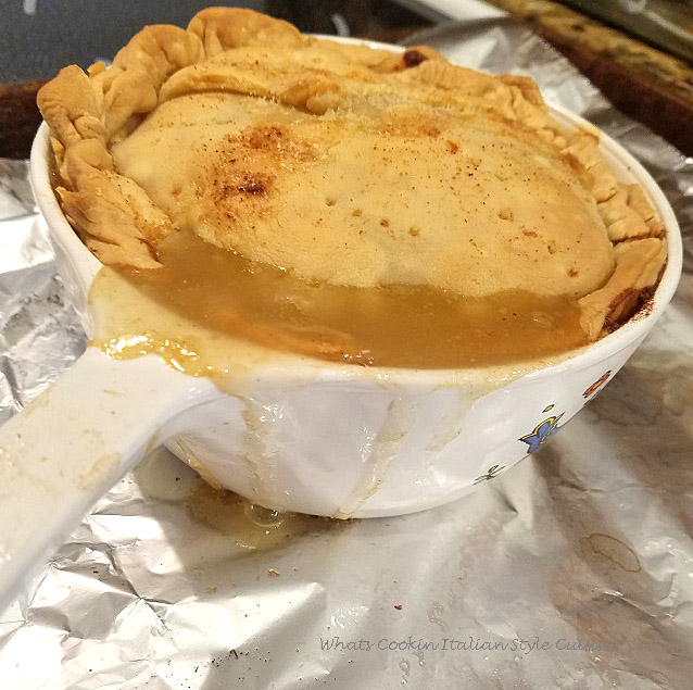 here is an easy recipe on how to make turkey pot pie using leftovers from the Thanksgiving holiday or a turkey dinner. We use up all the vegetables and leftovers in a pie crust filled pot pie and bake it till the crust is golden brown