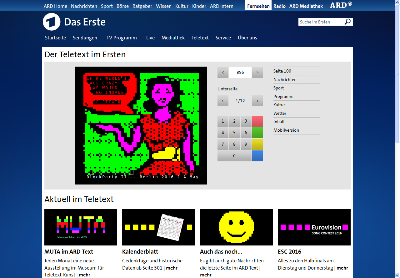 Arte Teletext Online Teletext Block Party May 2016