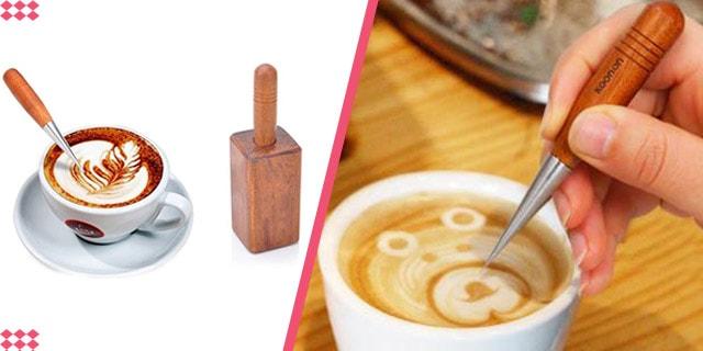 hızlı kahve süsleme, ahşap kahve süsleme kalemi, barista kalemi