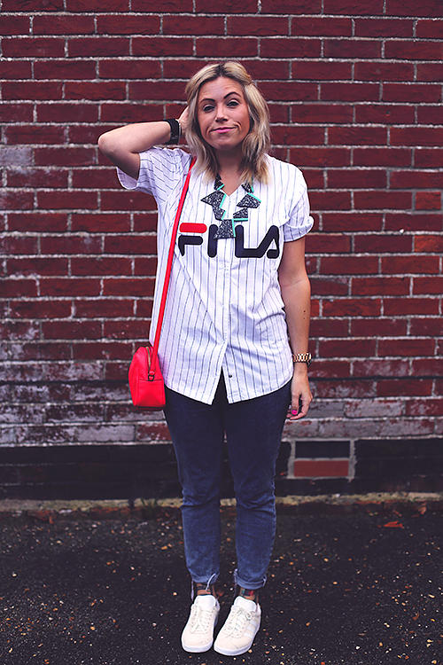 fila outfits. Styling Up Sportswear: Fila Baseball T-shirt And Leggings Outfits I