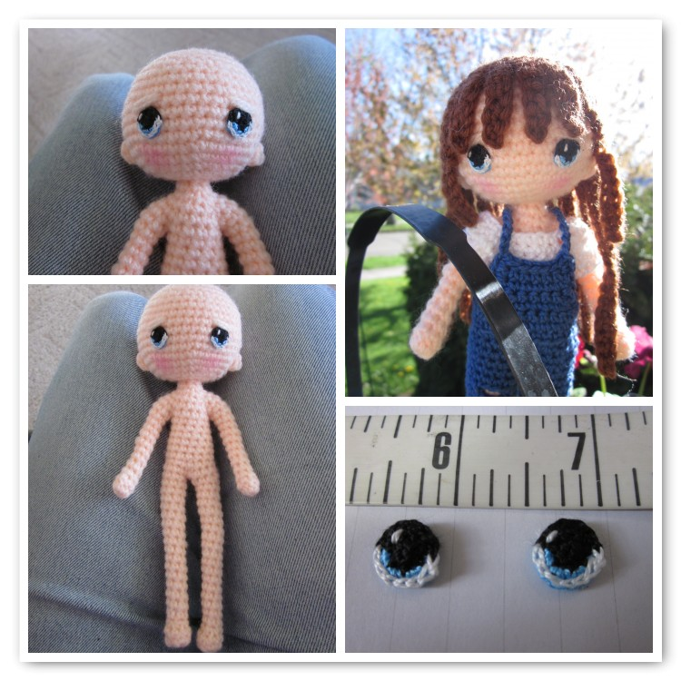 By hook by hand another wonderful doll pattern as you can see she is a very slender bodied doll so she is easy to dress by pulling her clothing up over her feet her eyes were made from this wonderful dt1010fo