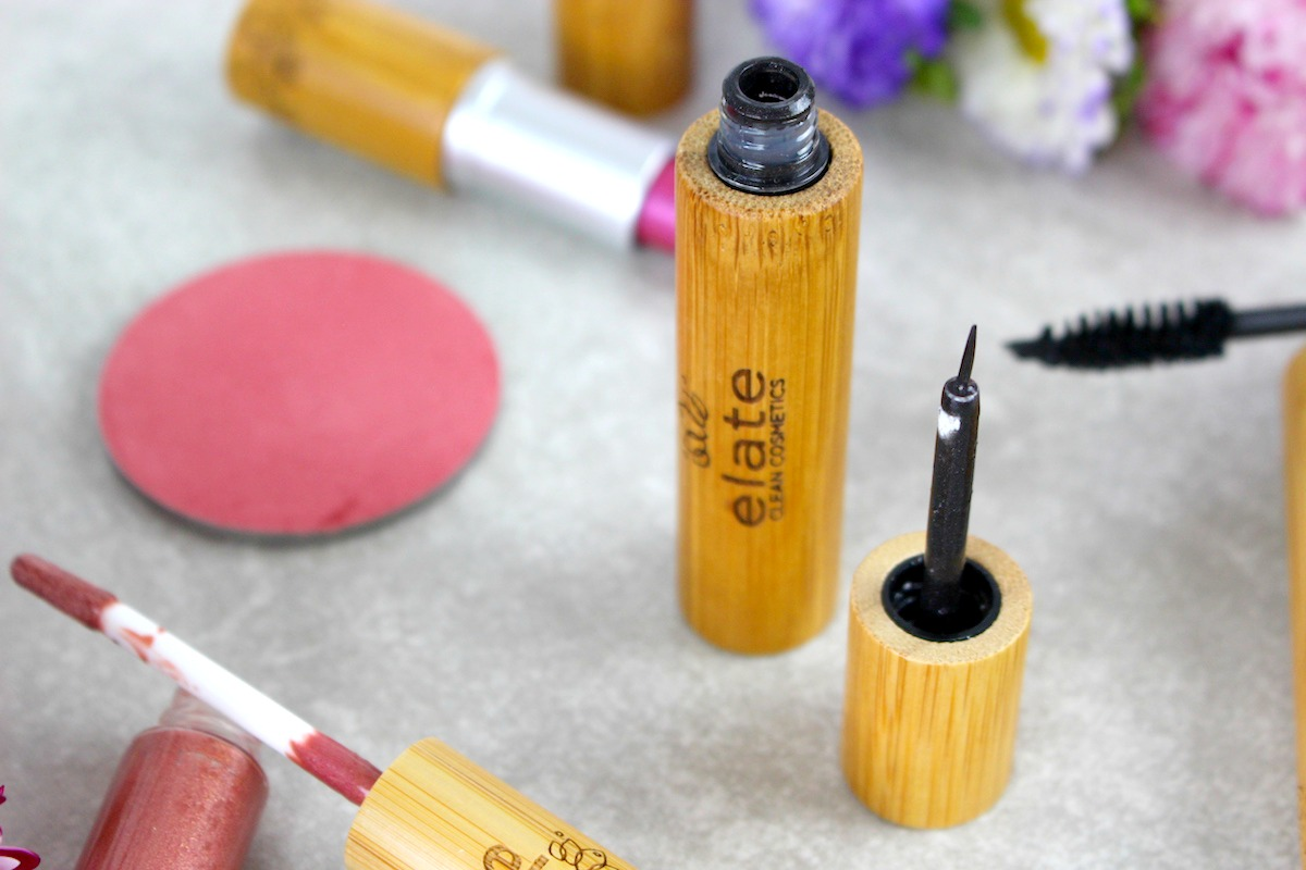 This is a close up of the Elate Cosmetics collection, with an emphasis on the mascara.