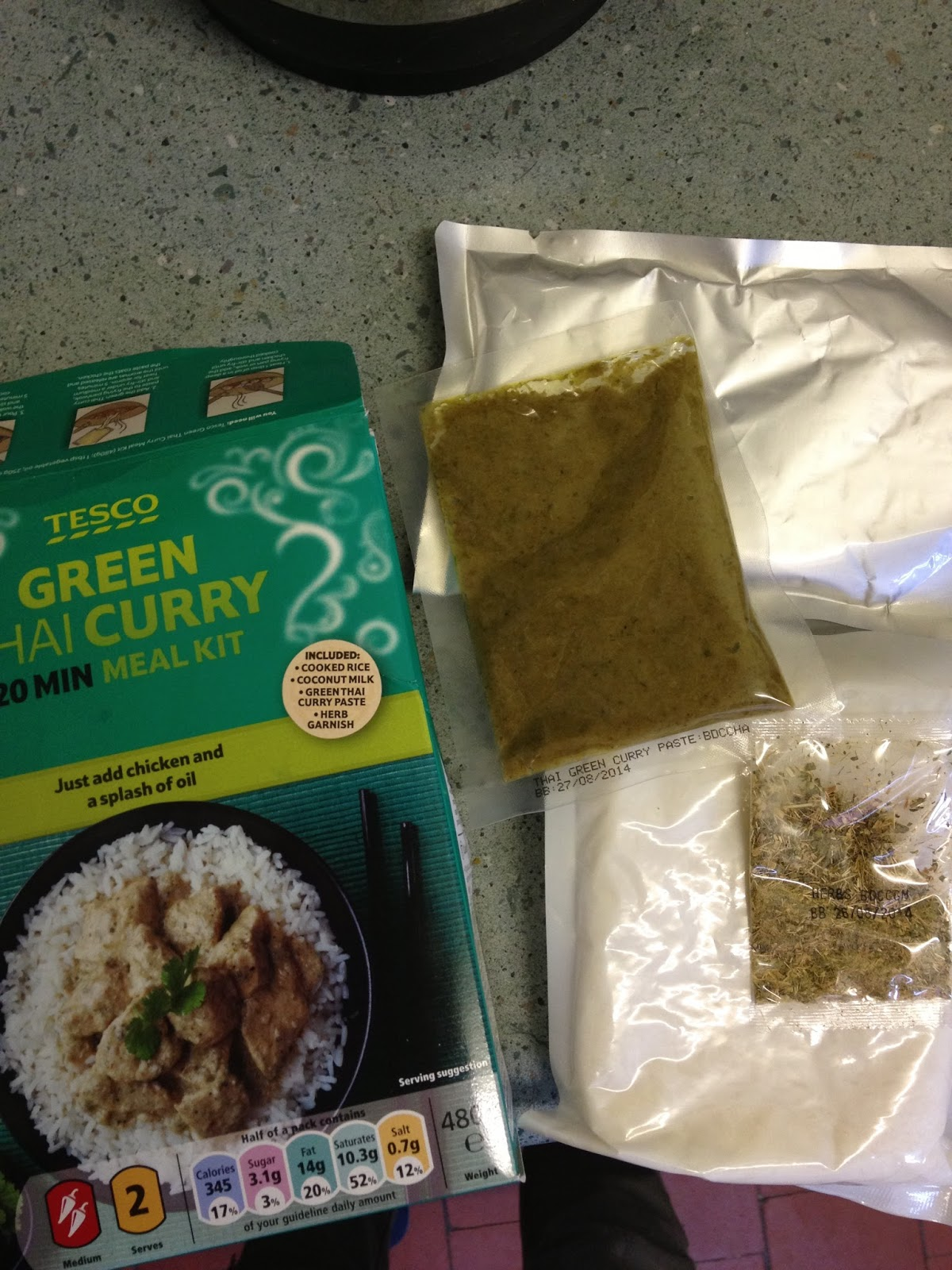 Foodstuff finds tesco thai green curry 20 min meal kit by nli10 you get similar to the last one only with coconut milk in the silver bag and some herbs in the little bag this is good as with hindsight you can fine solutioingenieria Images