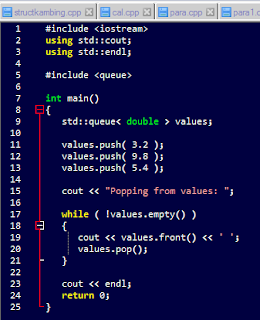 example code program doubles queue