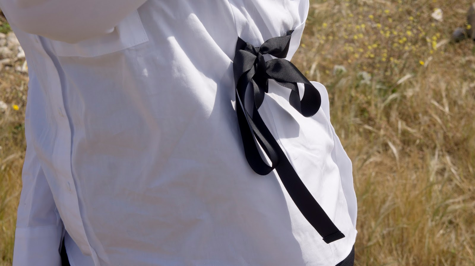 Black Ribbon bow on shirt