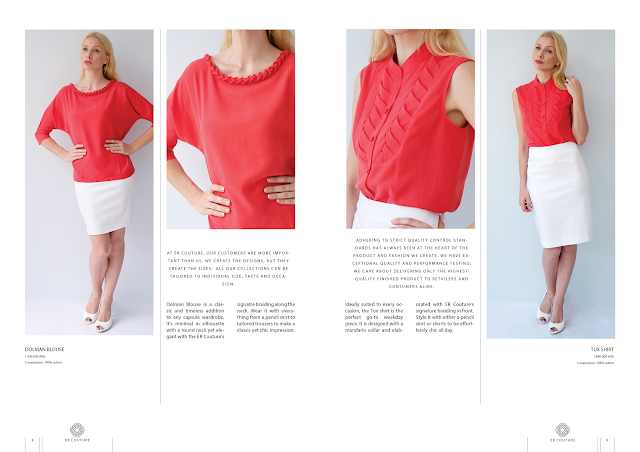 Red loose fitted top, dolman sleeves, white skirt, braided details