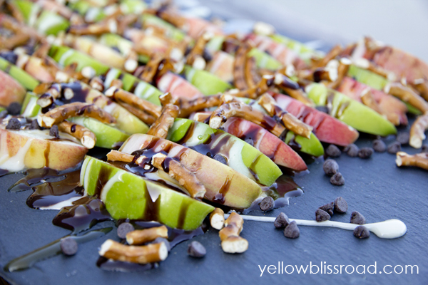 Get your chocolatey, caramely, marshmallowey, salty fix with these Caramel Apple Pretzel Nachos.